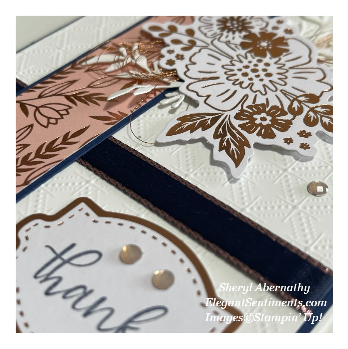 Close up of a thank you card made with Stampin' Up! products