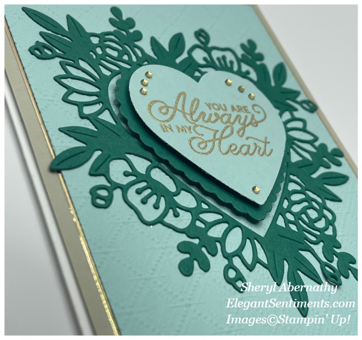 Close-up of a Valentine card made with Stampin' Up! products