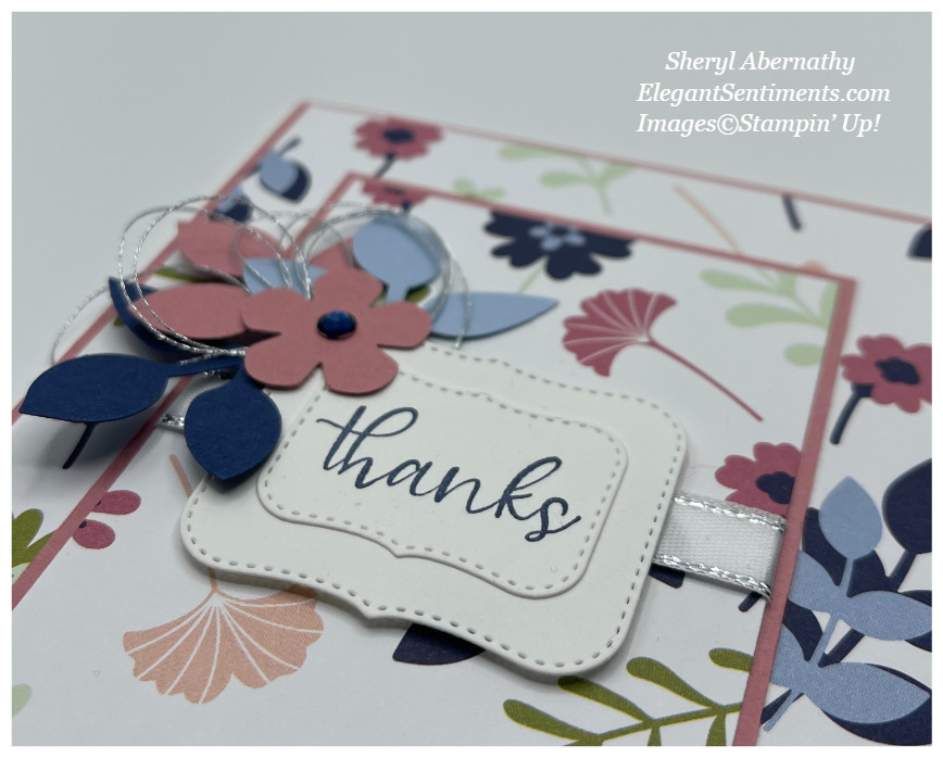 A close up of a thank you card made with Stampin' Up! products