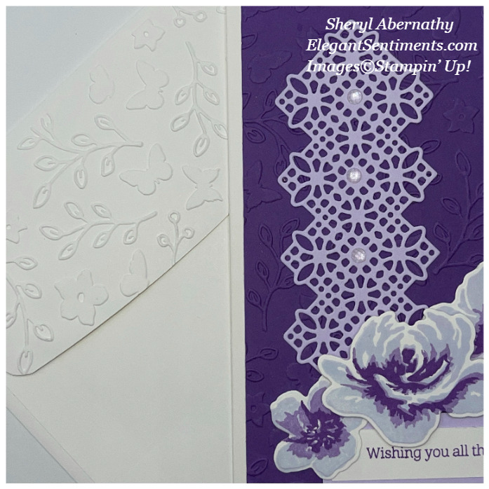 Greeting card and coordinated envelope made using Stampin' Up! products