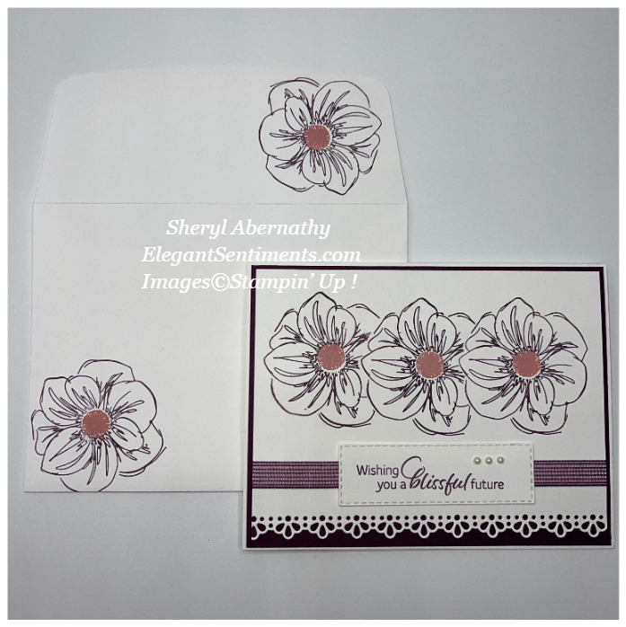 Anniversary card and coordinated envelope made with Stampin' Up! products