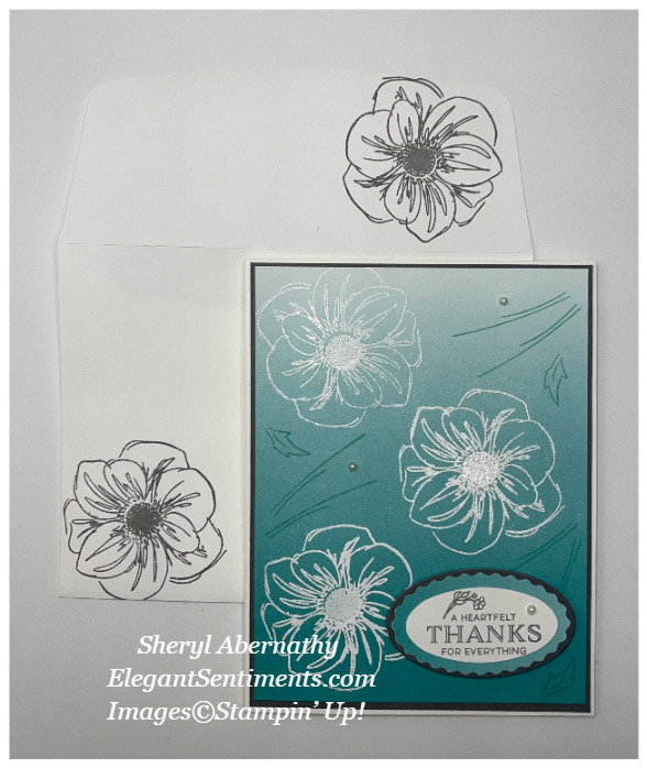 Thank you card and coordinating envelope made with Stampin' Up! products