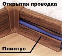 Открытая проводка в плинтусе