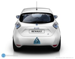 Elektroauto Sticker auf einem bis jetzt leider nur virtuellen ZOE.