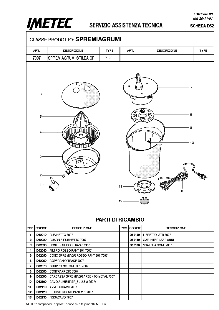 IMETEC STILEA CP EXPLODED VIEWS Service Manual download