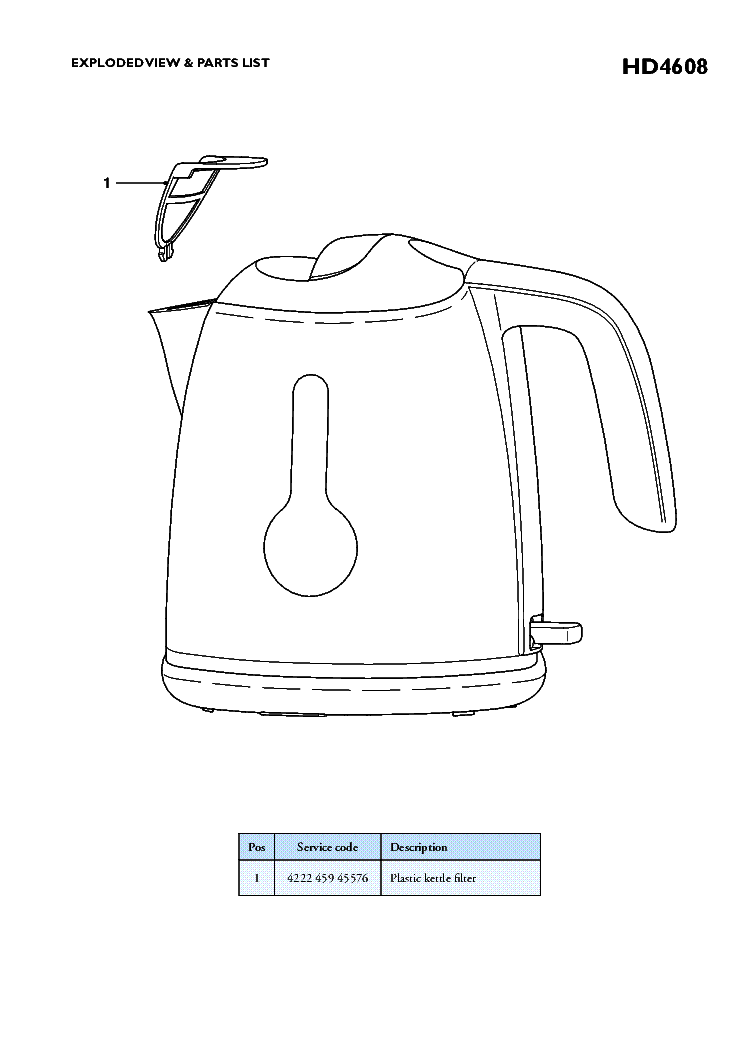 PHILIPS HD4608-70 KETTLE Service Manual download