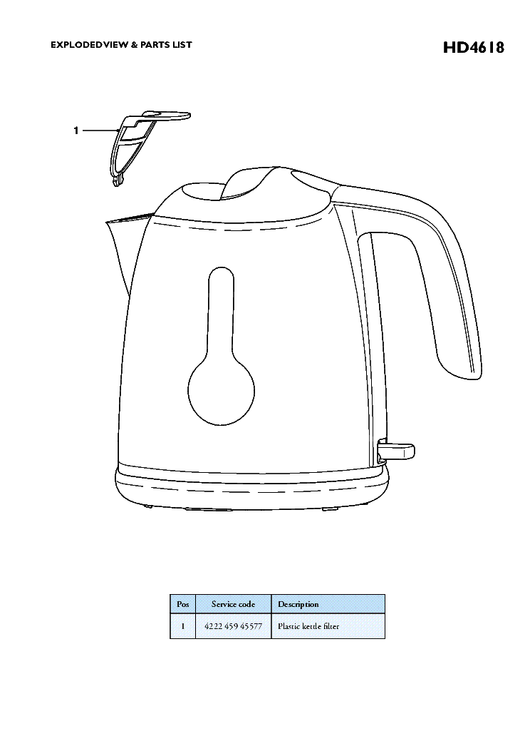 PHILIPS HD4618-20 KETTLE Service Manual download