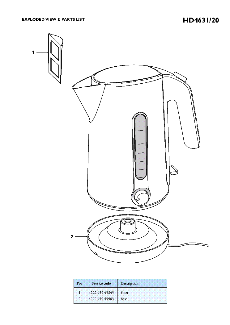 PHILIPS HD4631-20 KETTLE Service Manual download