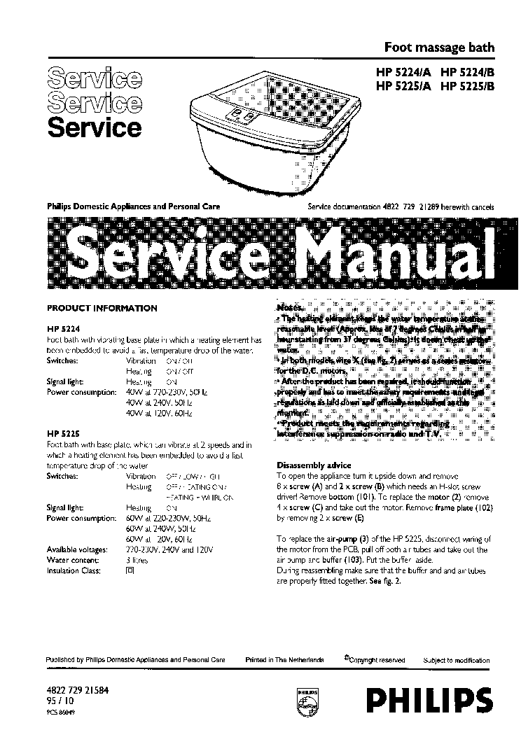 PHILIPS HP5224 5225A B Service Manual download, schematics