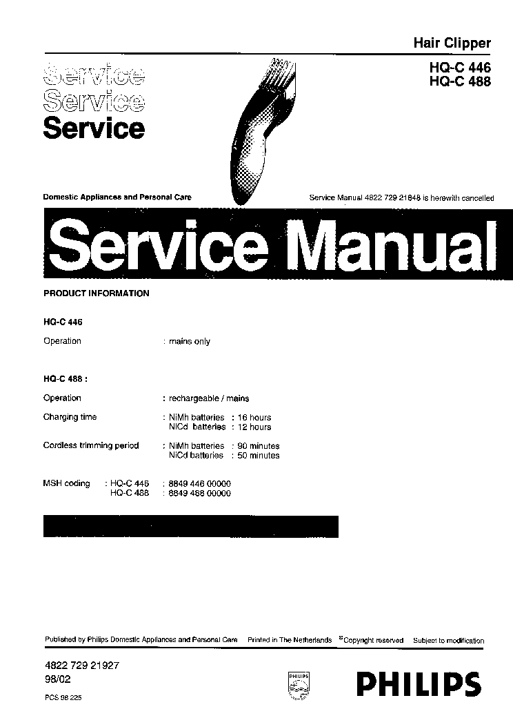 PHILIPS HQ-C446 HAIR CLIPPER Service Manual download