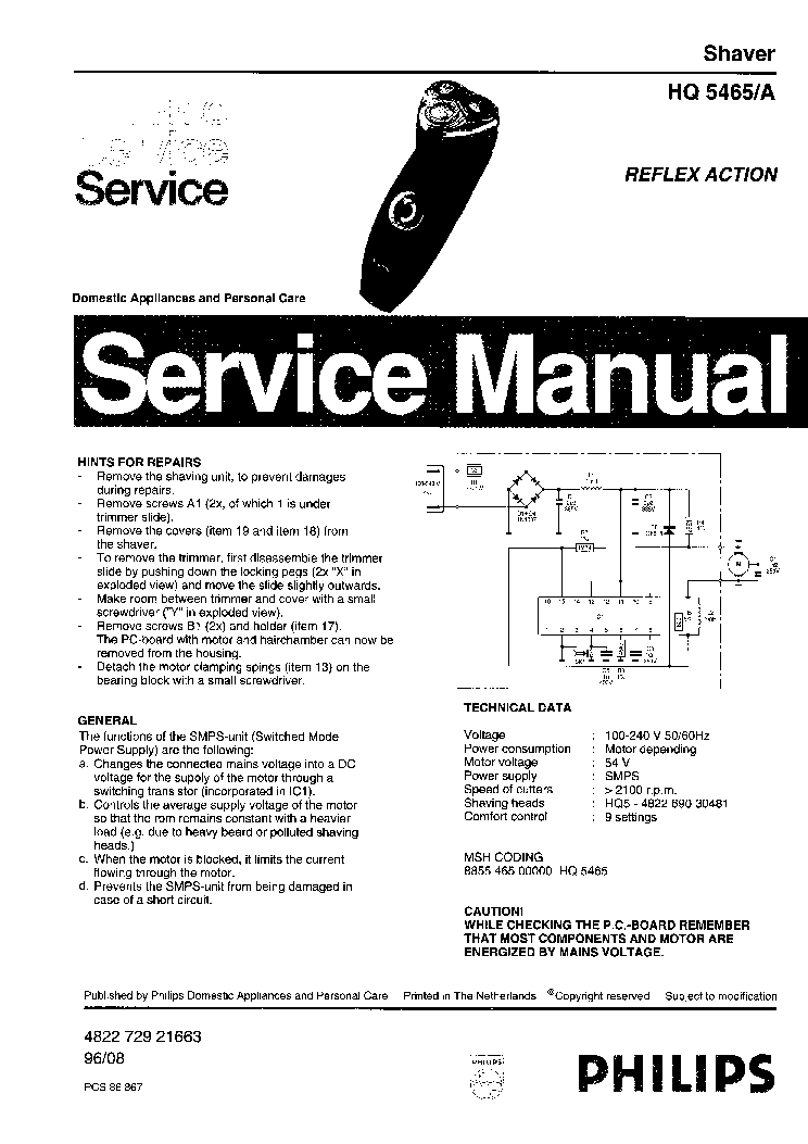 PHILIPS HQ5465A SHAVER. Service Manual download