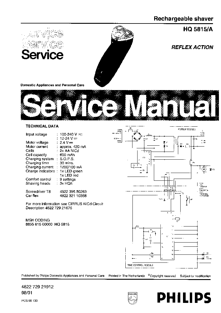 PHILIPS HQ5815A RECHARGEABLE SHAVER Service Manual