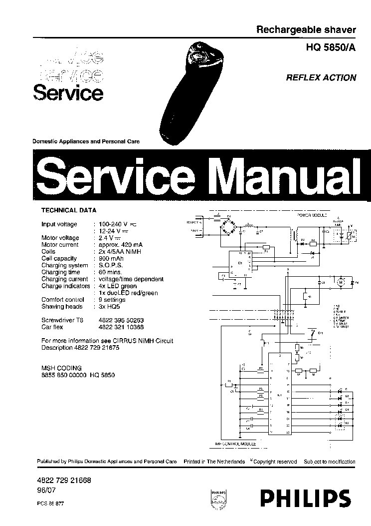 PHILIPS HQ5850A RECHARGEABLE SHAVER Service Manual