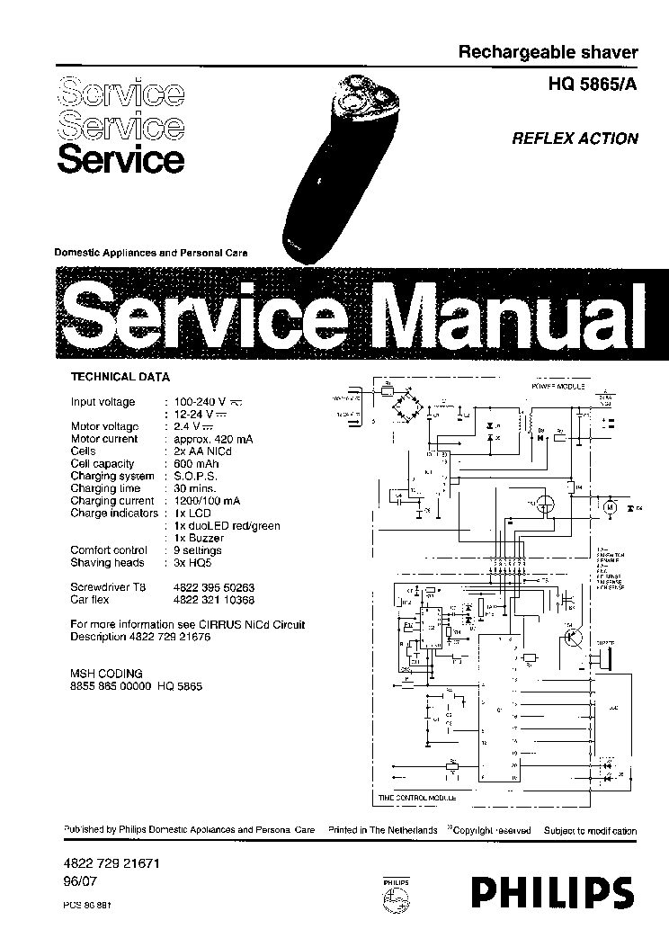 PHILIPS HQ5865A RECHARGEABLE SHAVER Service Manual