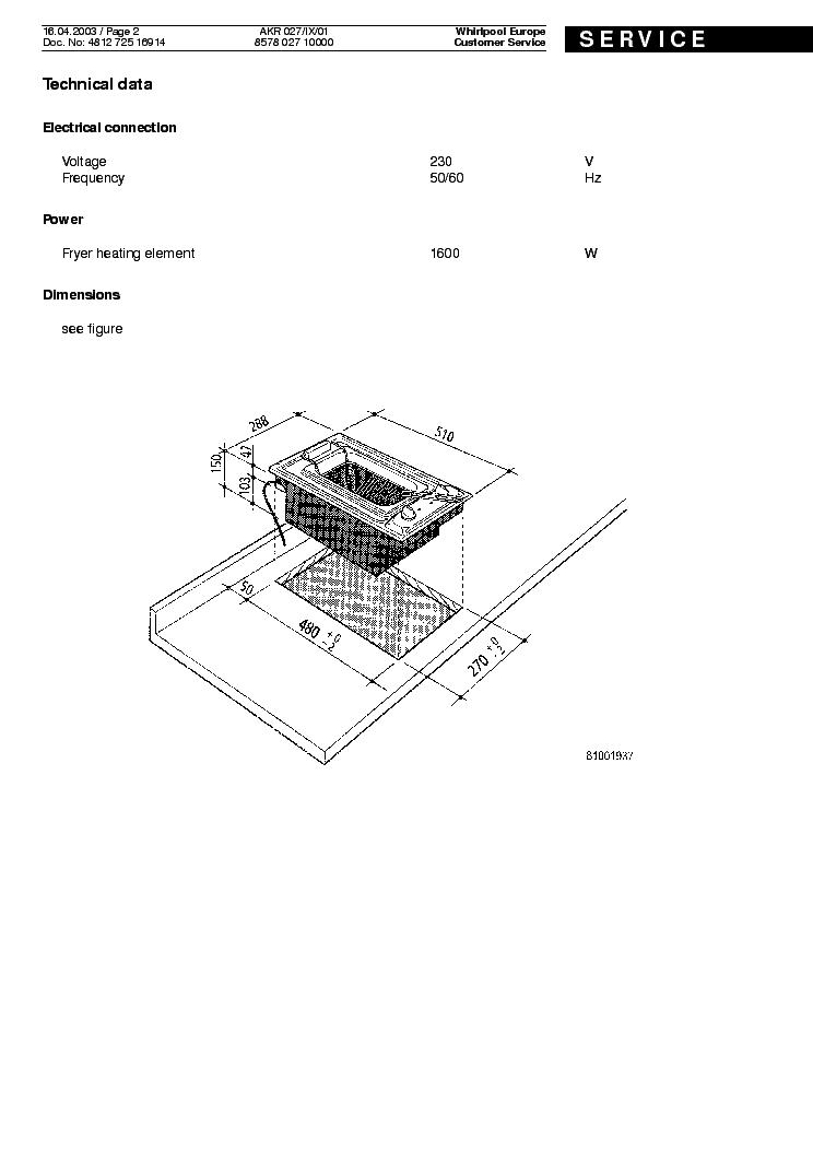 WHIRLPOOL AKR 027 IX 01 FRYER Service Manual download