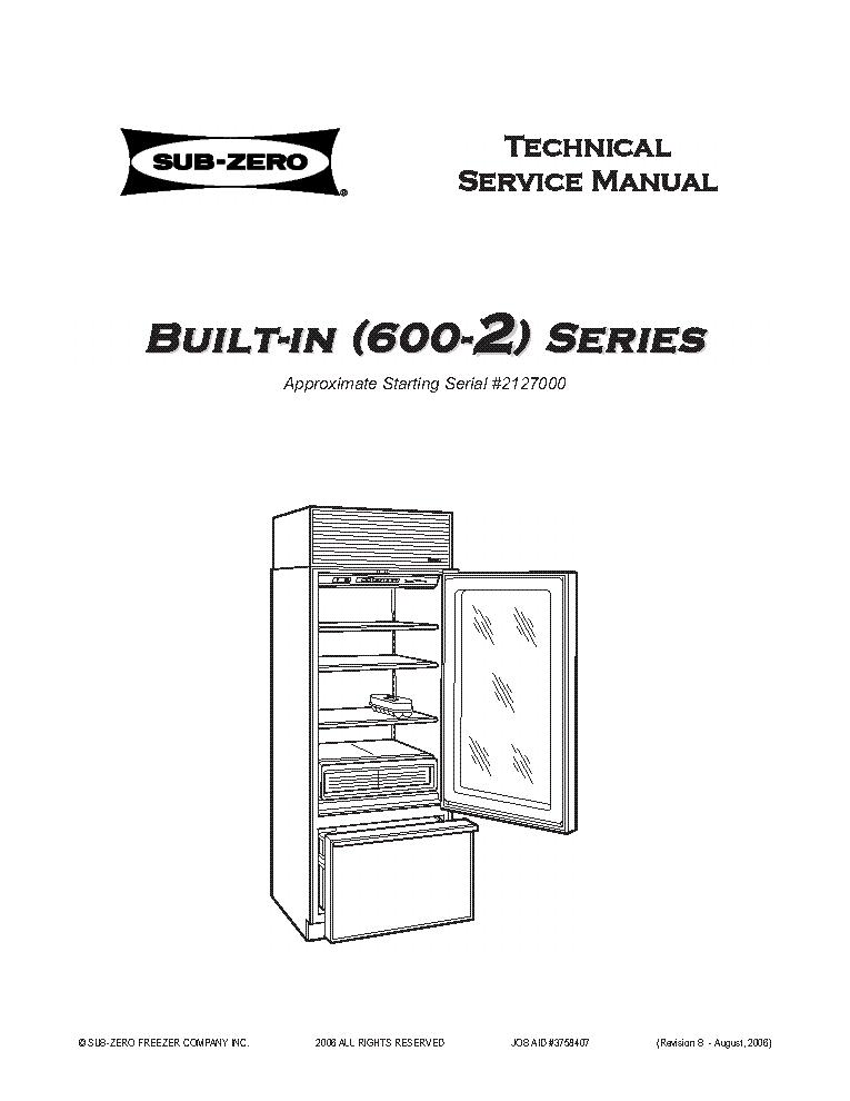 SUB-ZERO 600-2 SERIES BUILT-IN REFRIGERATOR REVB 2006 SM