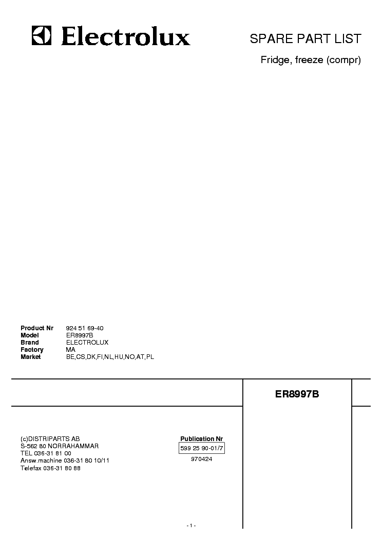 ELECTROLUX ER8997B Service Manual download, schematics