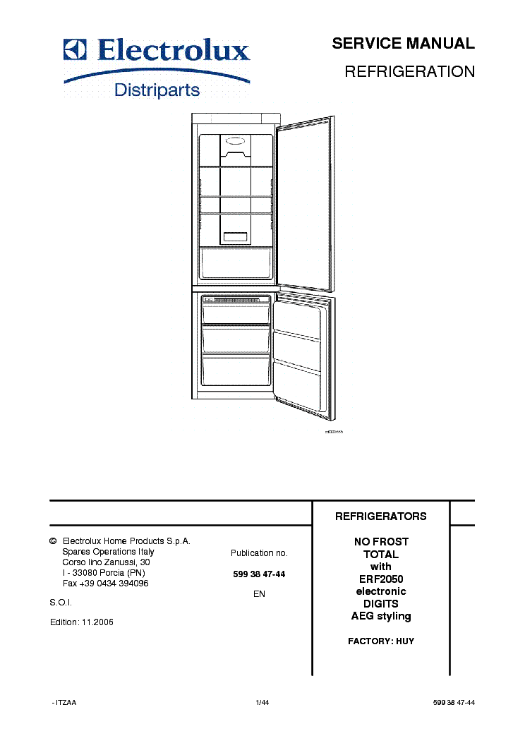 ELECTROLUX ERF-2050 SM Service Manual download, schematics