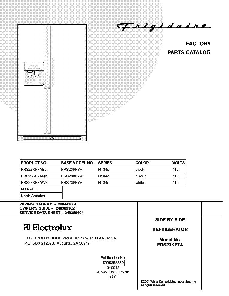 FRIGIDAIRE FRS23KF7A Service Manual download, schematics
