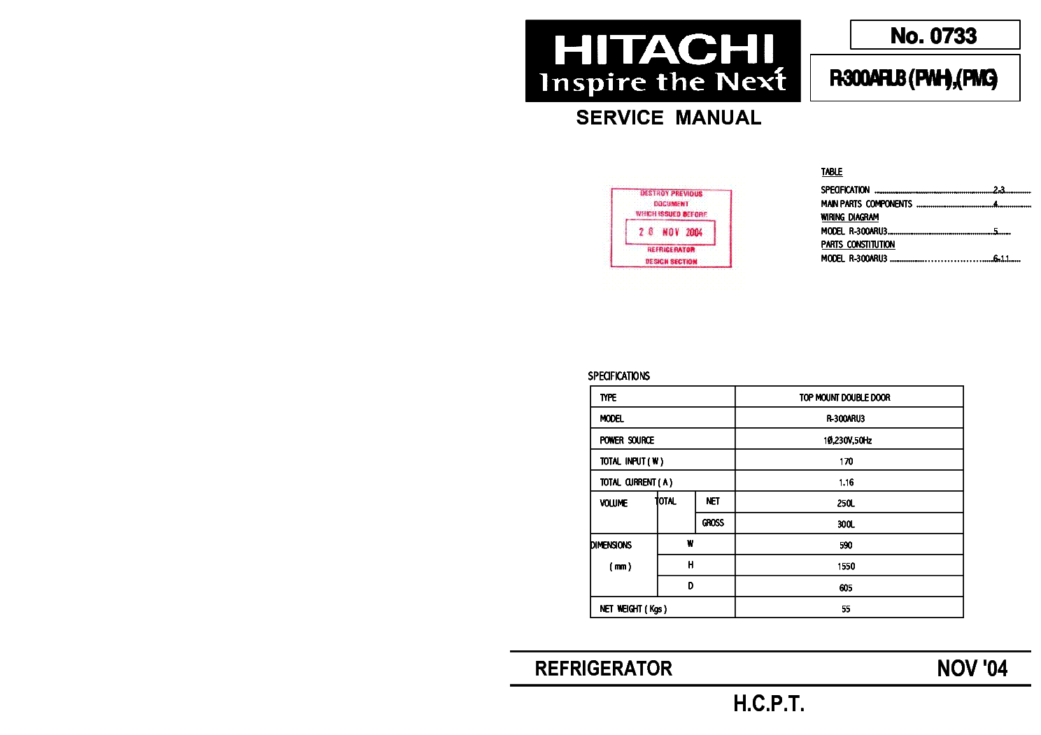HITACHI R-300ARU3 PWH,PMG Service Manual download