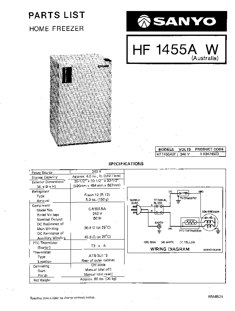SANYO HF-1455A REFRIGERATOR Service Manual download