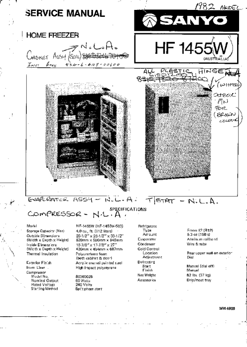 small resolution of sanyo hf 1455w refrigerator service manual 1st page