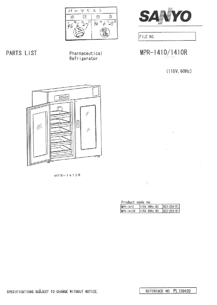 SANYO MPR-1410 PARTS LIST Service Manual free download