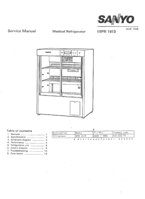 small resolution of sanyo mpr 161d sm service manual 1st page
