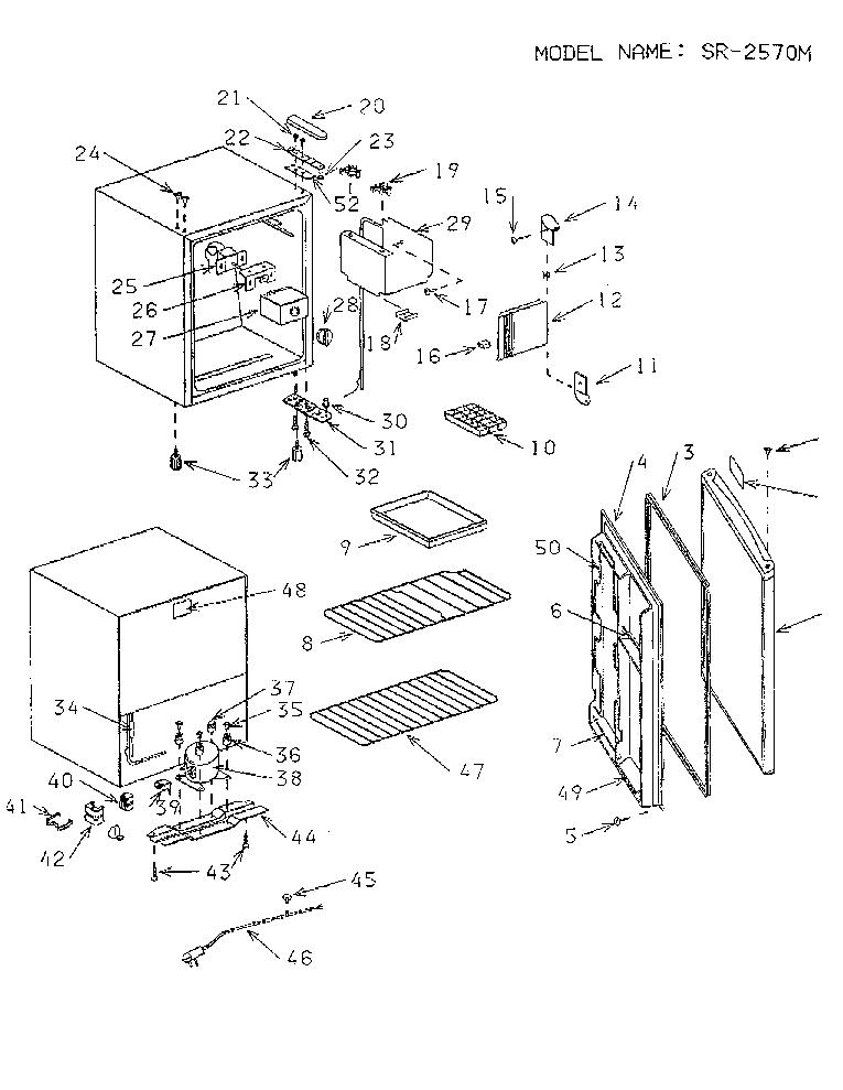 SANYO SR2570M PARTS LIST Service Manual download