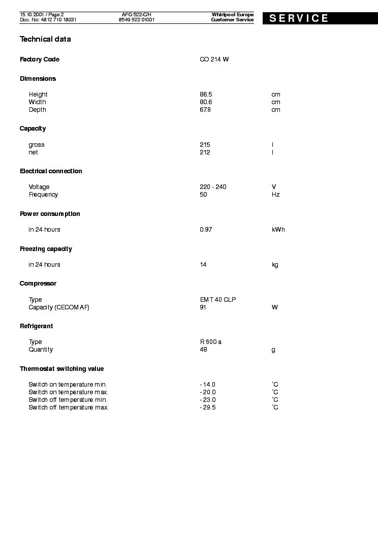 WHIRLPOOL AFG 522 C H SM2 Service Manual download