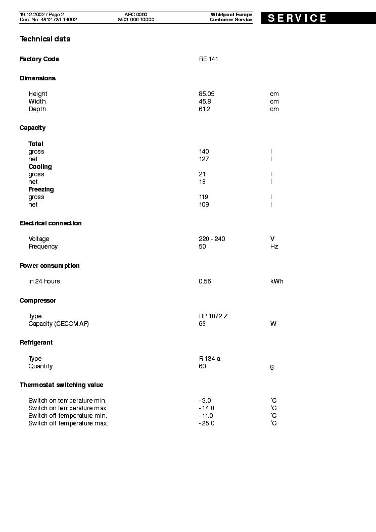 WHIRLPOOL ARC 0060 Service Manual download, schematics