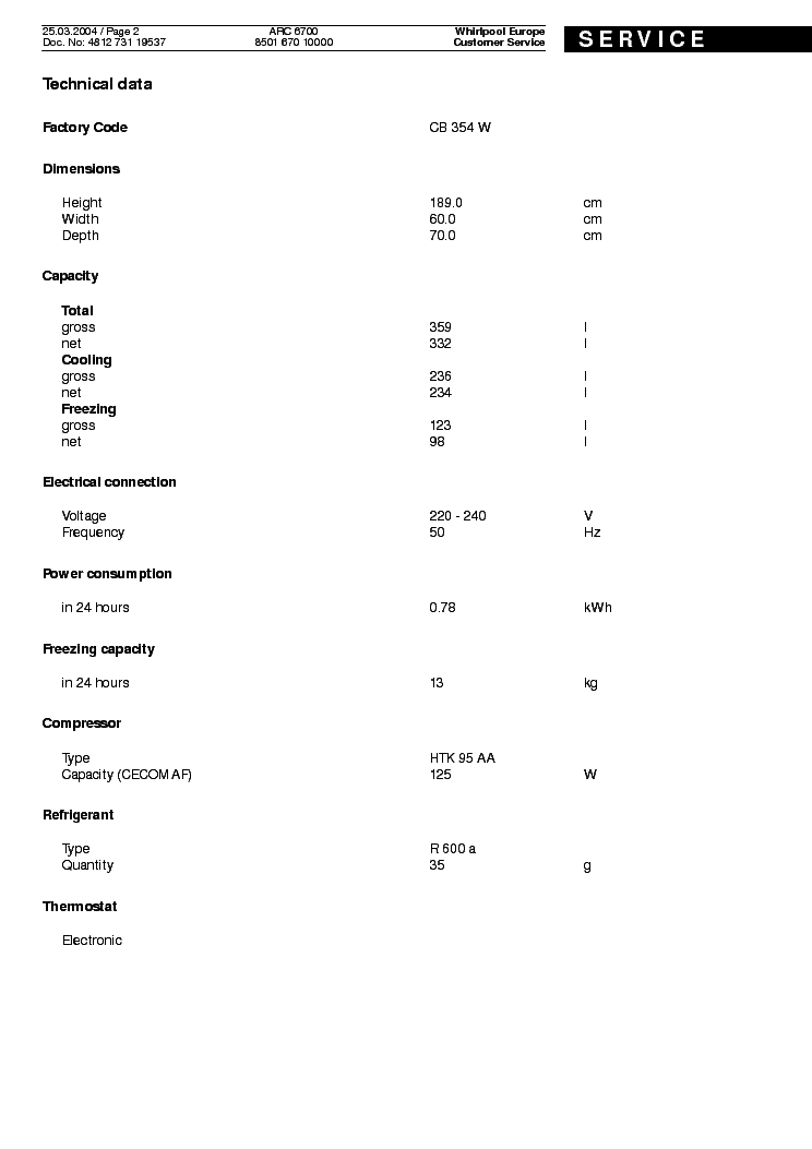 WHIRLPOOL ARC 6700 Service Manual download, schematics