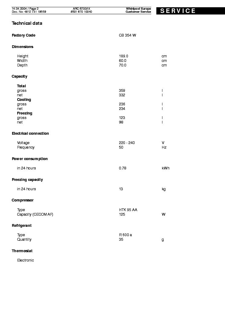 WHIRLPOOL ARC 6700 IX Service Manual download, schematics