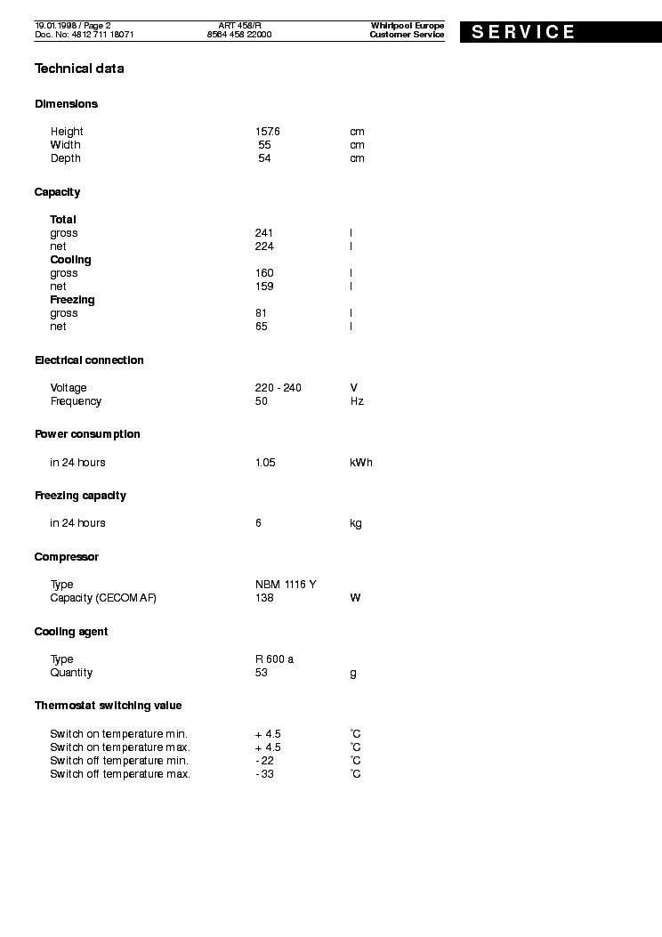 WHIRLPOOL ART 458 R Service Manual download, schematics