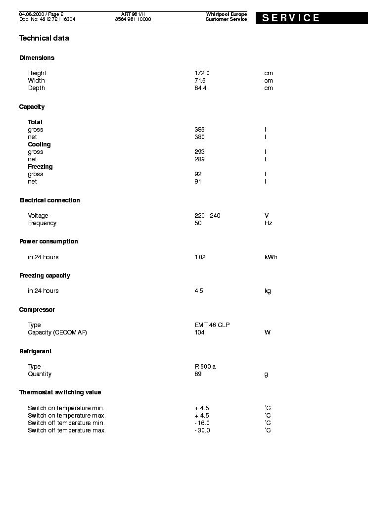 WHIRLPOOL ART 961 H Service Manual download, schematics