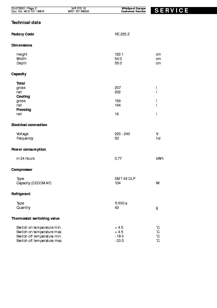 WHIRLPOOL IKEA 345 370 10 CBI 613 W Service Manual