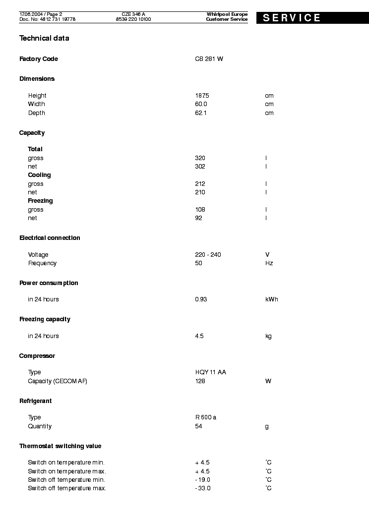 WHIRLPOOL POLAR CZE 346 A Service Manual download