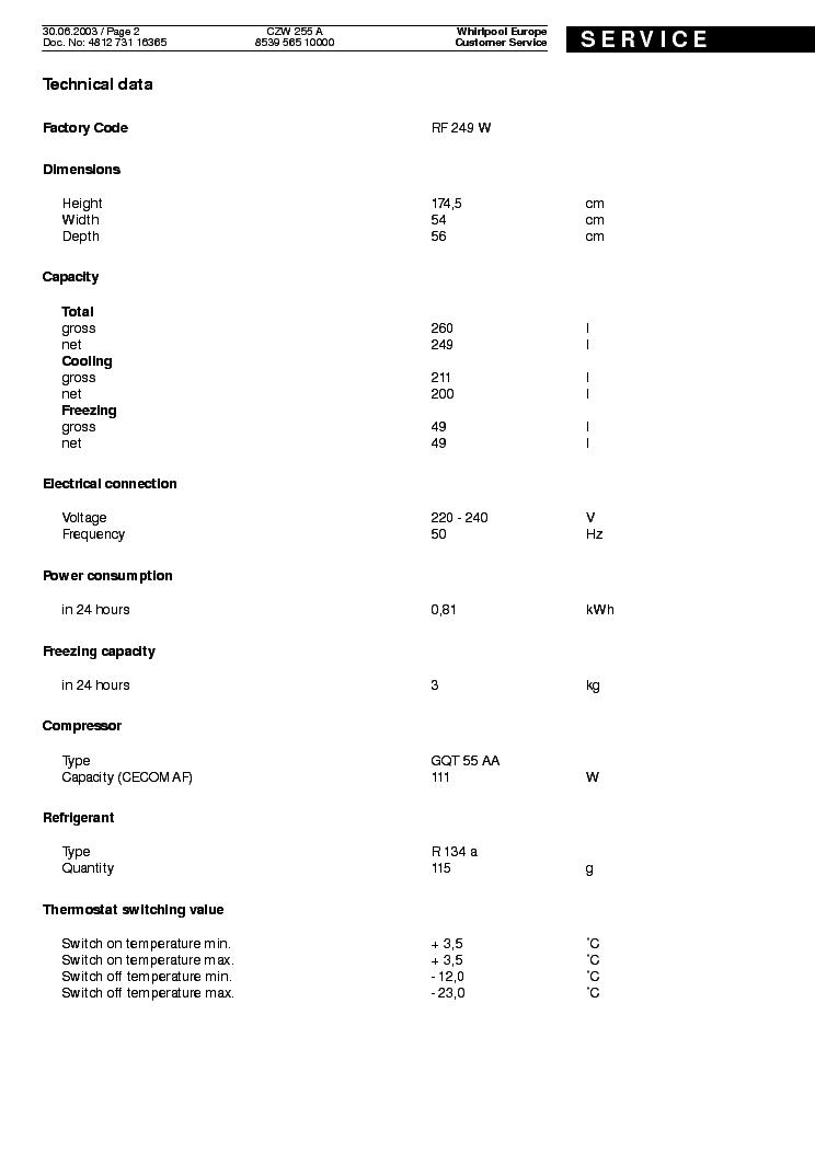 WHIRLPOOL POLAR CZW 255 A Service Manual download