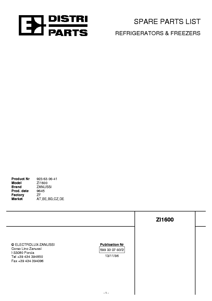 ZANUSSI FL12INP 14799902 Service Manual download