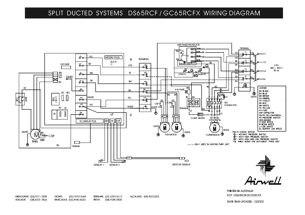 AIRWELL DS-65RCF GC-65RCFX WIRING-DIAGRAM Service Manual