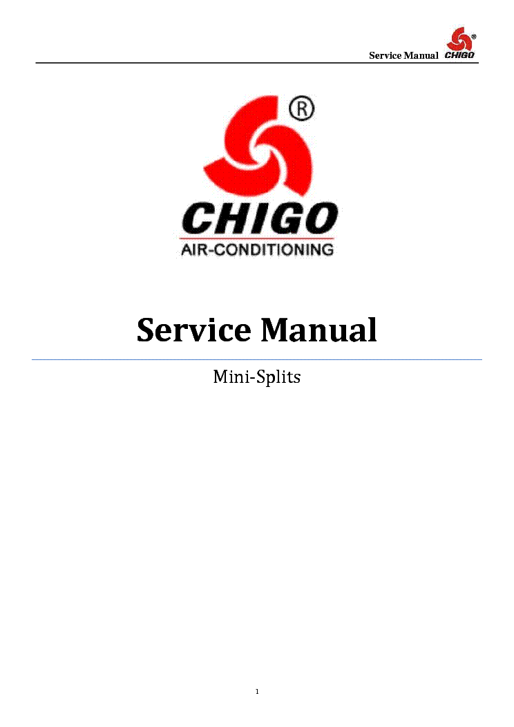 CHIGO MINI-SPLITS Service Manual download, schematics