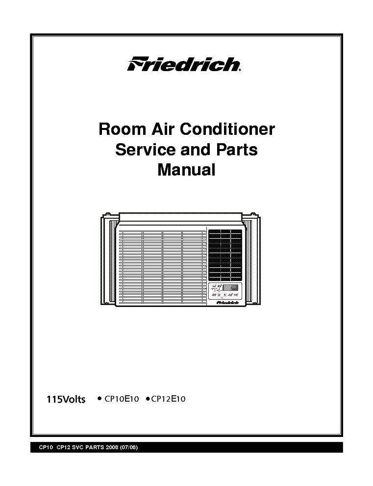 FRIEDRICH CP-14N10-18N30-24N30 ROOM AIR CONDITIONER 2007