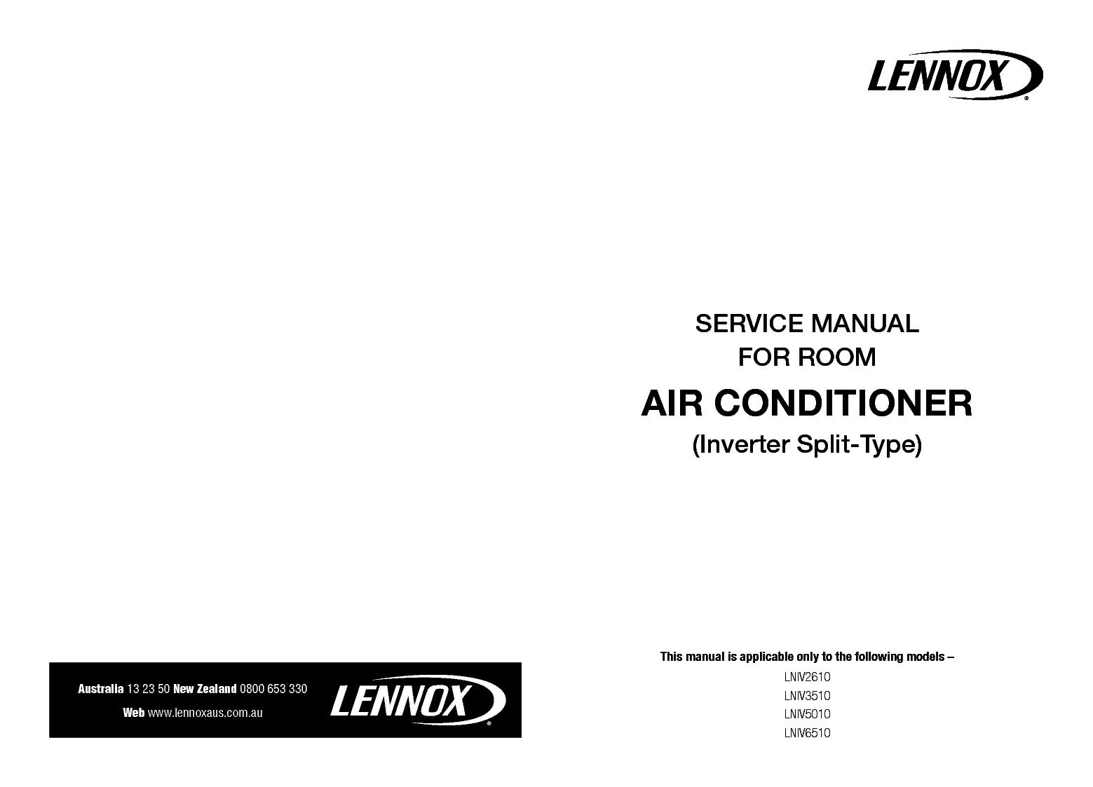 LENNOX LNIV2610 LNIV3510 LNIV5010 LNIV6510 SM Service