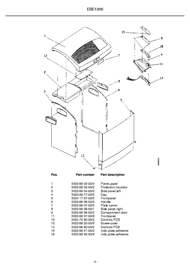 ELECTROLUX EBE1200 Service Manual download, schematics