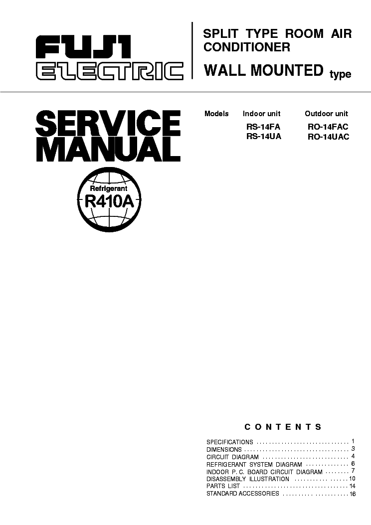 FUJI-ELECTRIC FUJITSU RS14FA RS14UA Service Manual