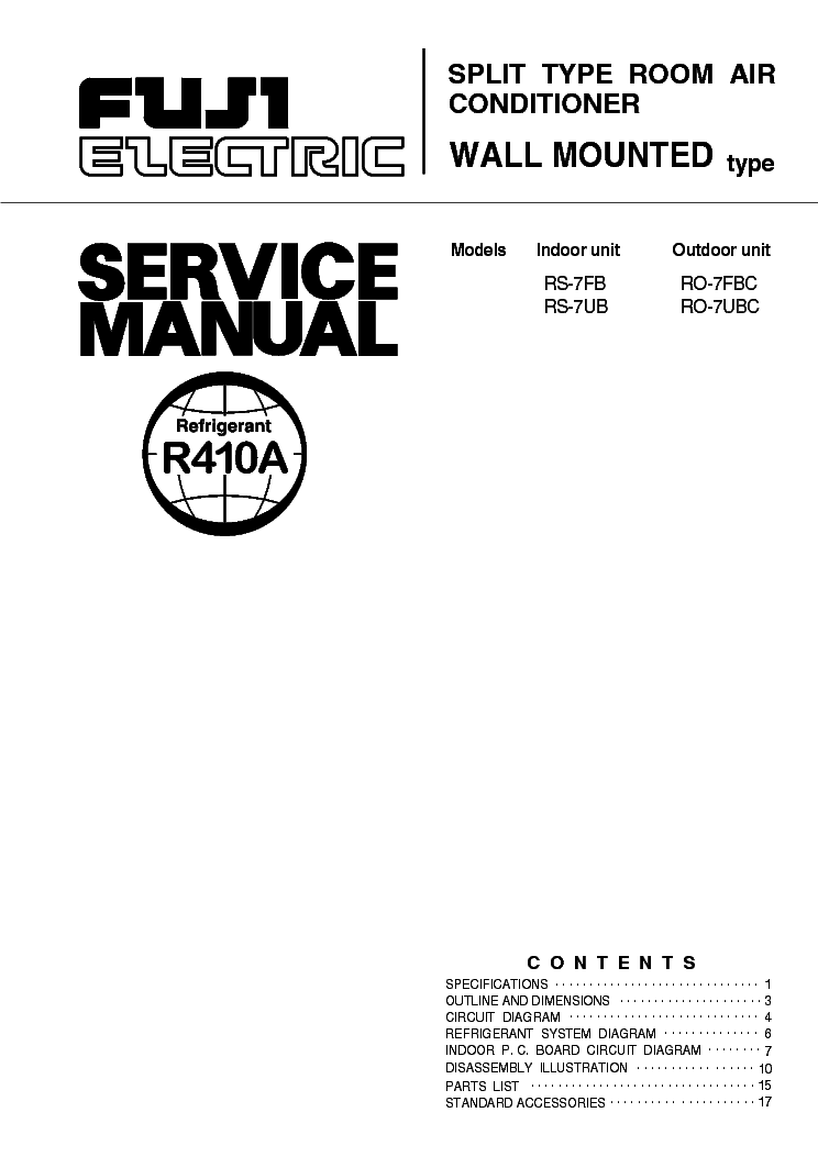 FUJI-ELECTRIC FUJITSU RS7FB RS7UB Service Manual download