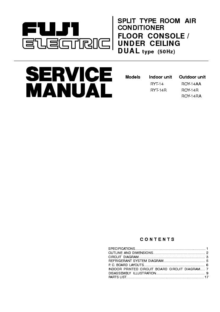 FUJI-ELECTRIC RYT-14 R ROY-14AA R RA SM Service Manual