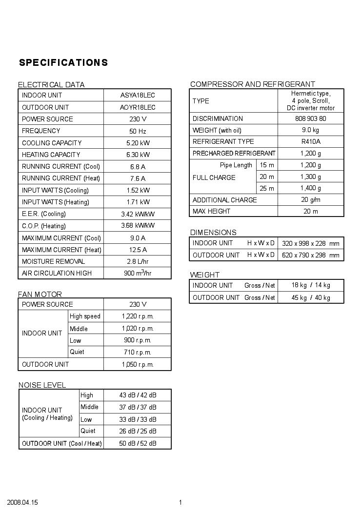 FUJITSU ASYA18LEC AOYR18LEC Service Manual download