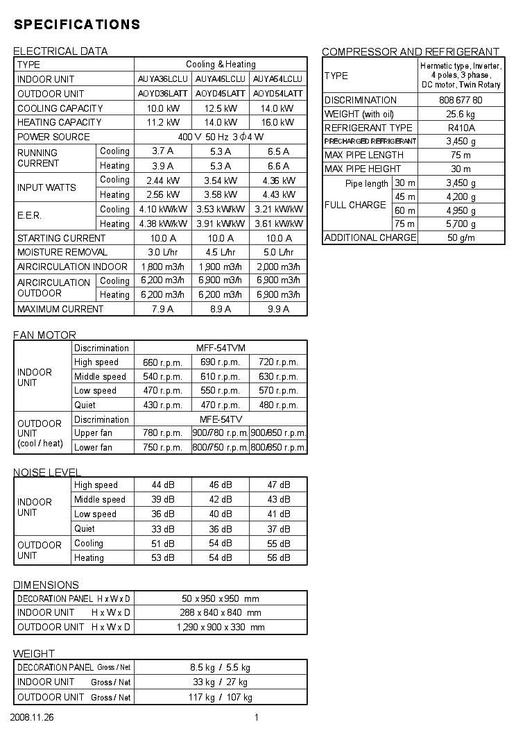 FUJITSU AUYA36-45-54LCLU AOYD36-45-54LATT Service Manual