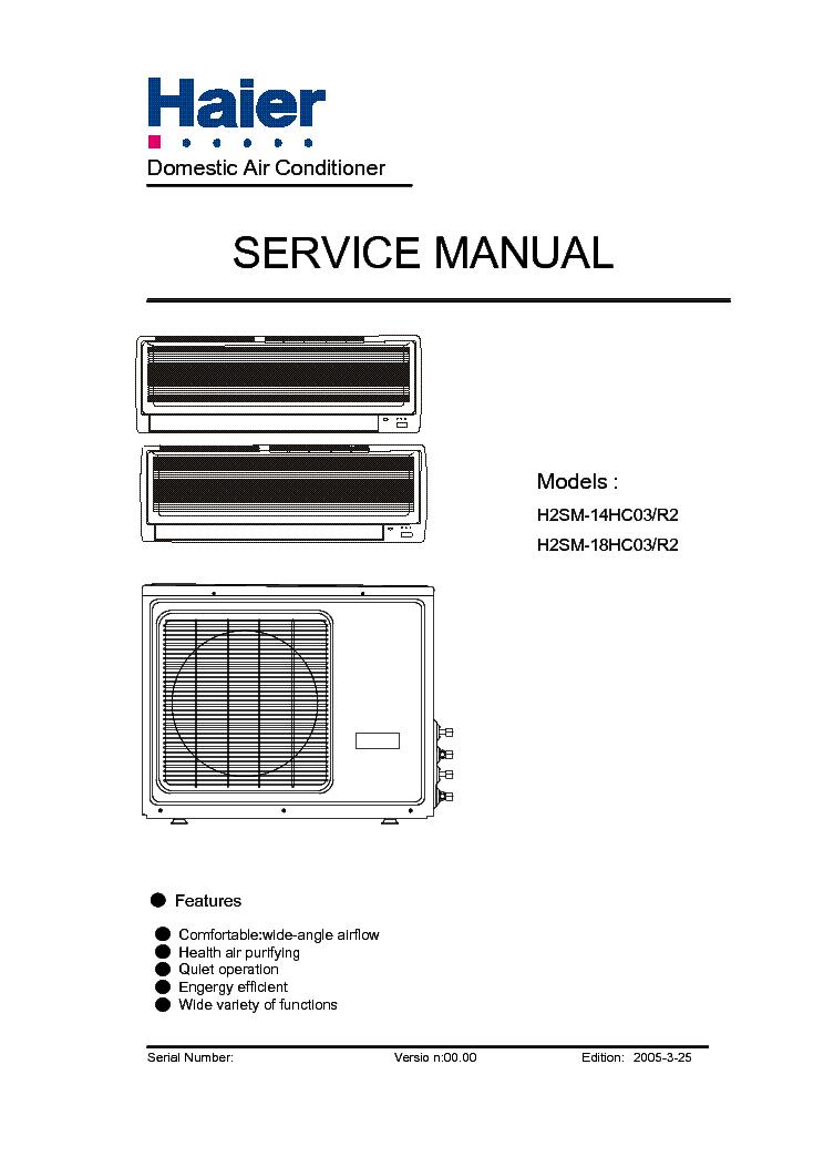 HAIER H2SM-14 18HC03R2 SM Service Manual download
